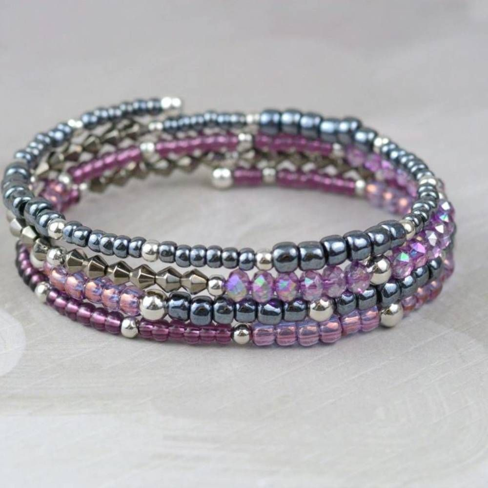 How to Make Memory Wire Beaded Bracelet | Memory wire bracelets ...
