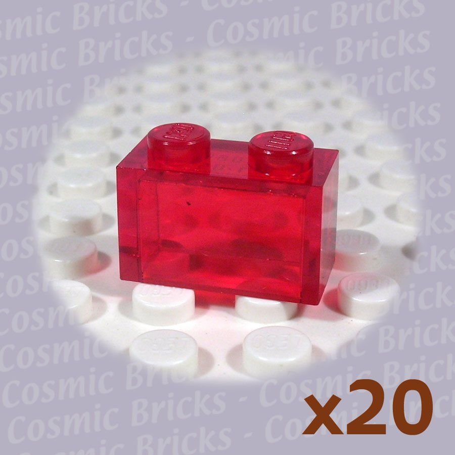 Lego Trans Red Brick 1x2 Without Pin 306541 3065 20 Pack N Red Bricks Brick Lego