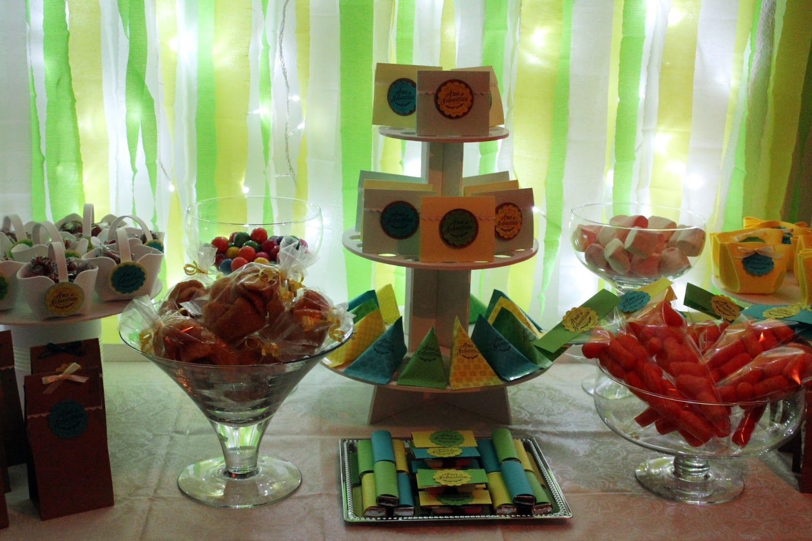 candy table green and yellow wedding