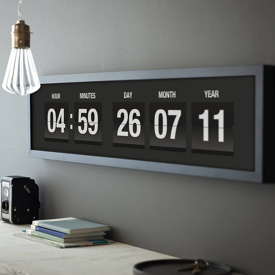 Giant digital clock with flip numbers google search office wall clocks amipublicfo Image collections