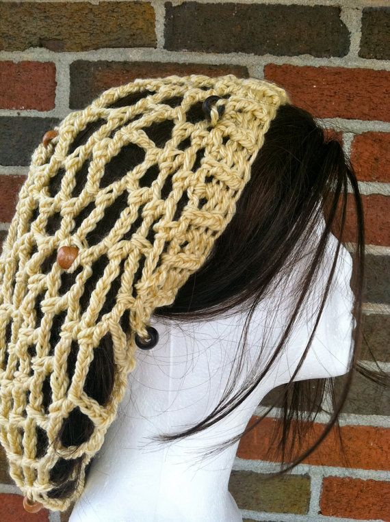 Crochet Mesh Beanie Beaded Snood Summer Slouchy Hat by Caheez ...