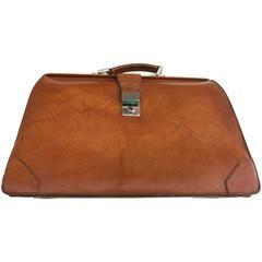 Prada Brown Leather Top Handle Carry-On Bag