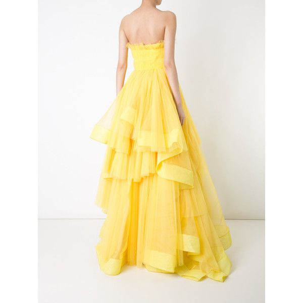 Isabel Sanchis strapless pleated ballgown ($7,915) ❤ liked