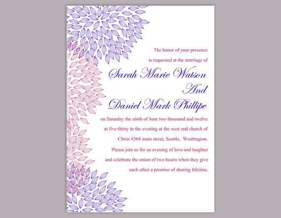 Diy Wedding Invitation Template Editable Word File Instant Diy Wedding Invitations Templates Instant Download Wedding Invitations Wedding Invitation Templates