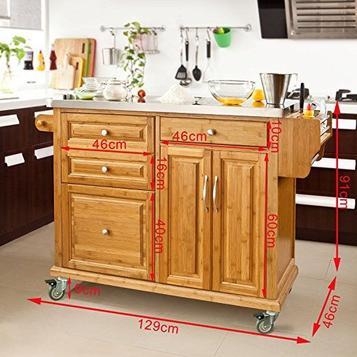 SoBuy® Luxus-Küchenwagen Aus Hochwertigem Bambus Mit