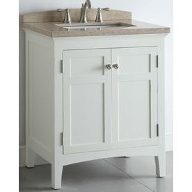 Image Of Shop allen roth Windleton White with Weathered Edges Undermount Single Sink Asian Hardwood Bathroom Vanity with Natural Marble Top Common x Actual