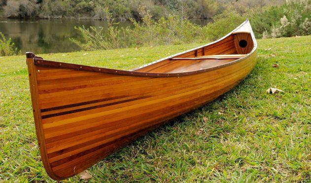 Display Cedar Strip Built Canoe 6/' Small Wooden Model Boat Flat Matte Finish New