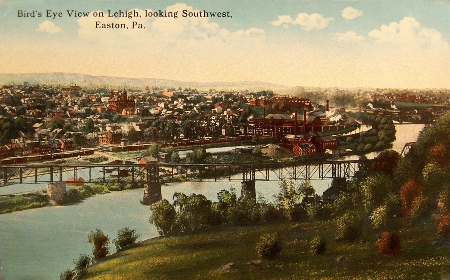 Aerial View Looking Southwest At The Lehigh River Easton Aerial View Birds Eye View Skyline