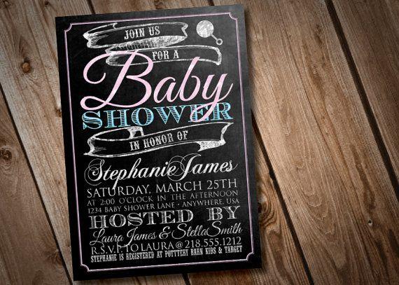 Diy Printable Chalkboard Baby Shower Invitation  Chalkboard Baby