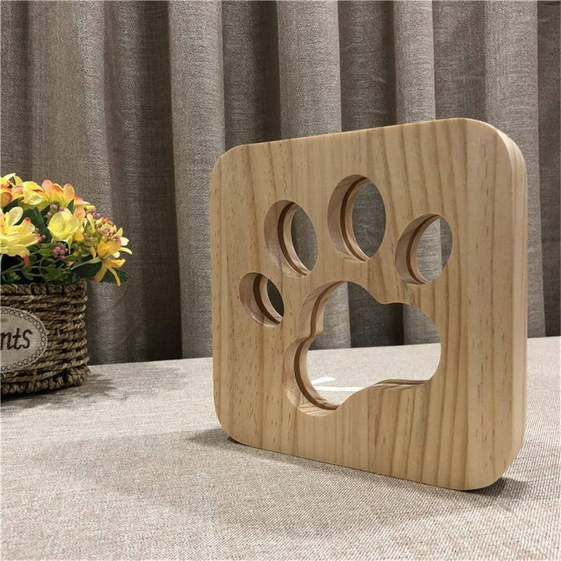 Wooden Dog Paw Lamp Animal Lamp Wooden Table Lamps Dog Lamp