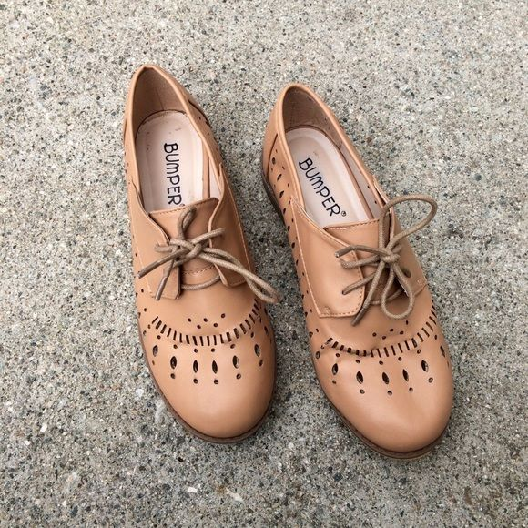 Beige Cutout Oxford Shoes Nude beige color. Great condition. Cutout  detailing all over. Lace up. Flat. Oxford style. Shoes Flats   Loafers f948f7c4831