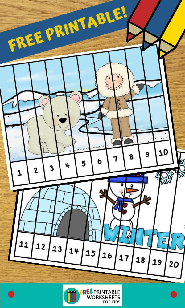 Winter Number Puzzles Preschool Winter Worksheets Winter Preschool Printables Winter Math Worksheets