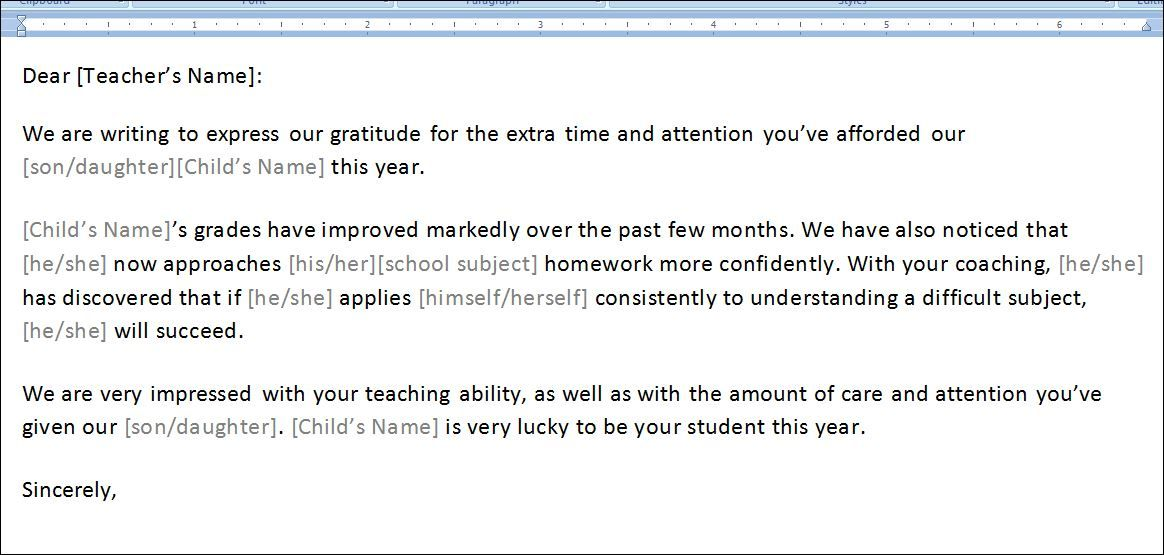 The thank you letter to teacher may also be used as a token of ...
