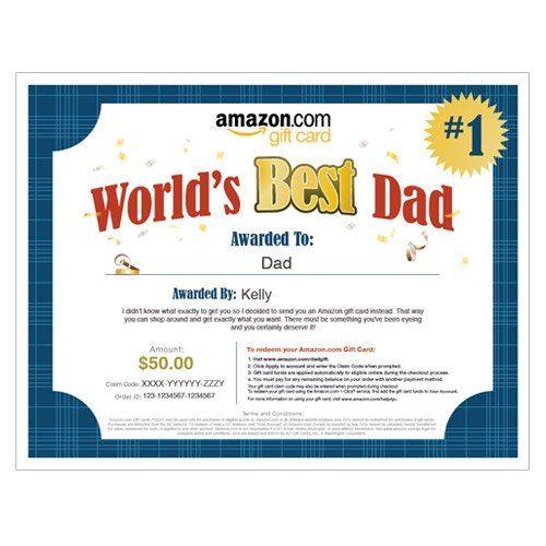 Amazon Gift Card - Print - World's Best Dad $50.00 | Gift ...
