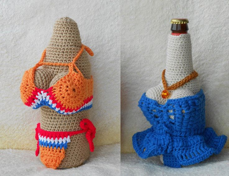 Crochet Pattern Wine Bottle Cozies And Beer Can And Bottle Cozies