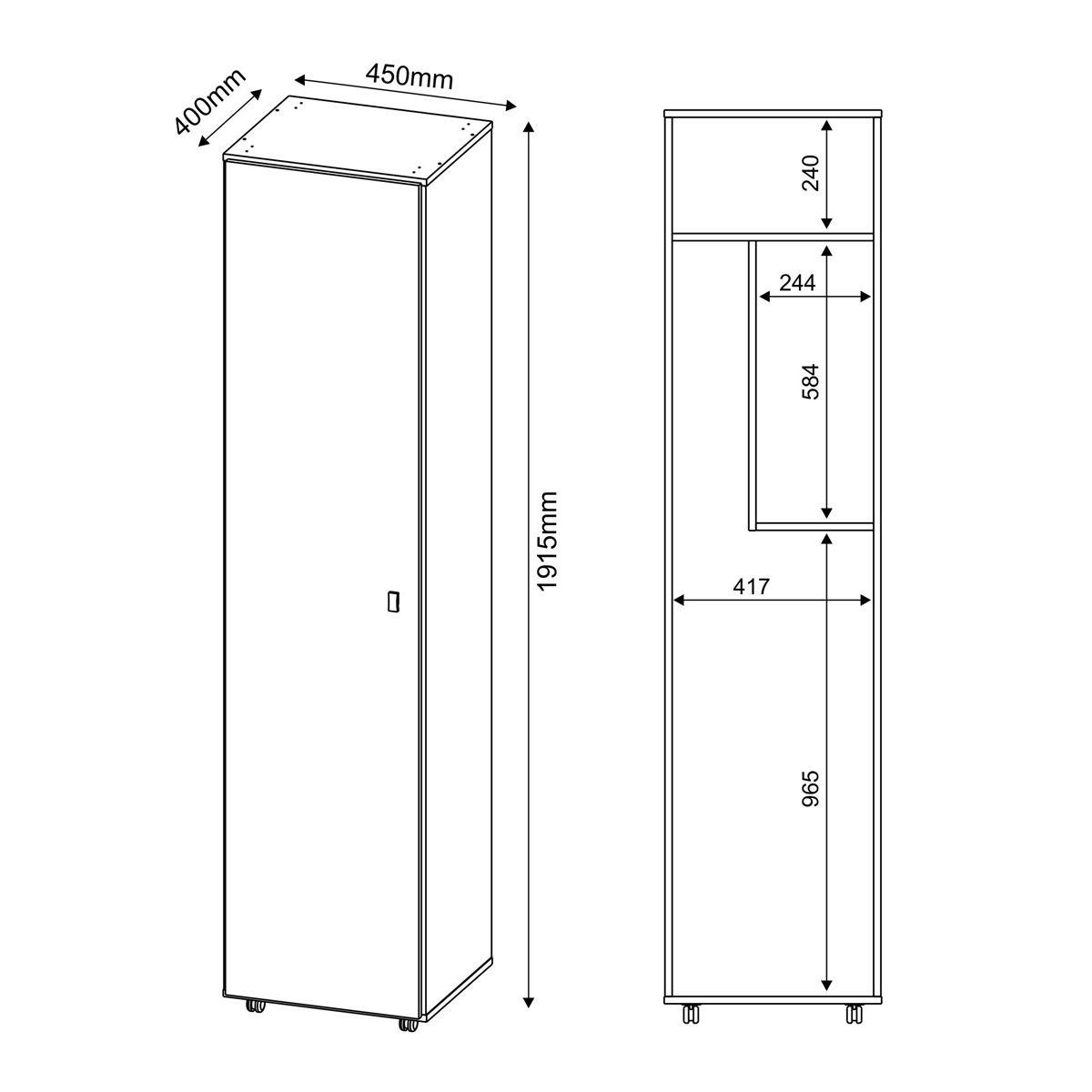 armario multiuso 1 porta tecno mobili 1200