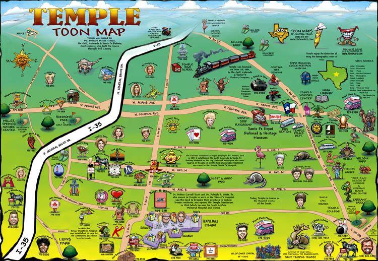 Temple Tx Temple Texas Cartoon Maps Temple Texas Temple