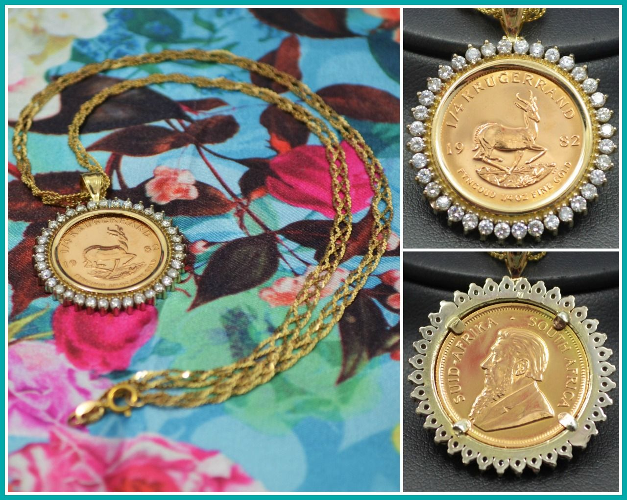 1982 South African Krugerrand Coin Pendant With Diamond Details Vintage 1 4oz 22k Fine Gold Coin Necklace Gold Coin Necklace Coin Necklace Gold Coins