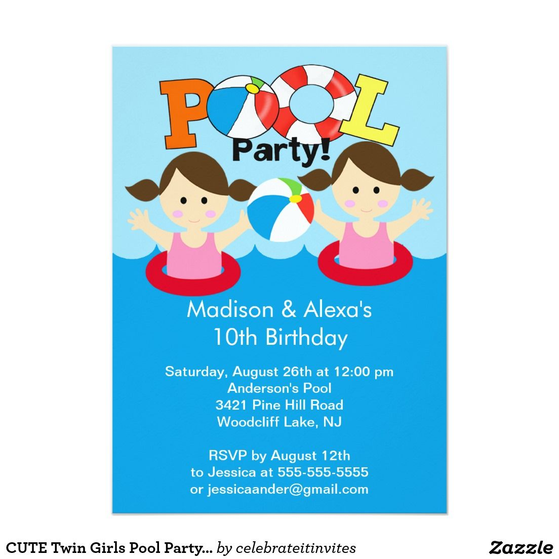 CUTE Twin Girls Pool Party Birthday Invitation 5 X 7 Card