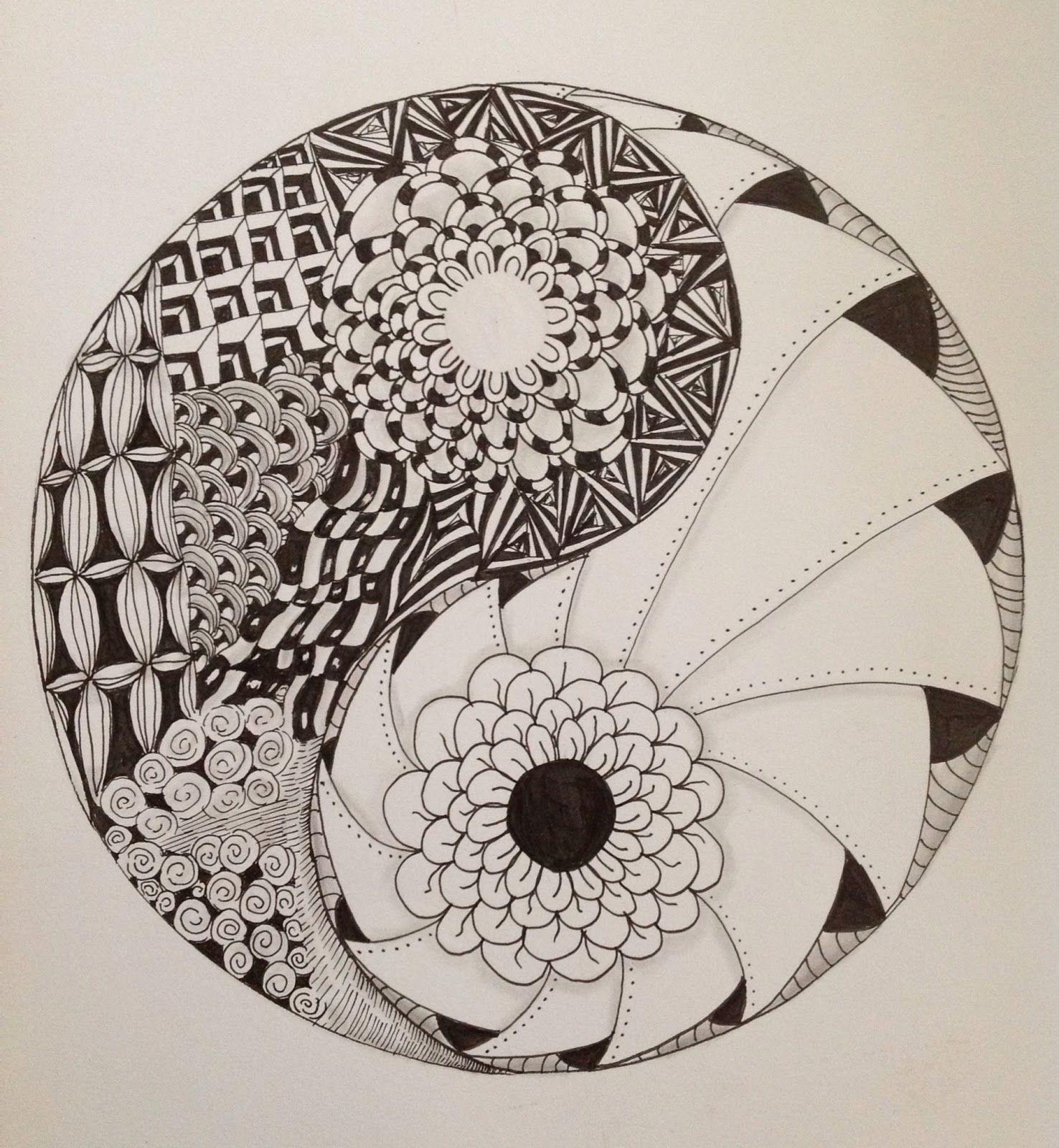 Zentangle Yin Yang Realistische Tekening Ying Yang Patronen