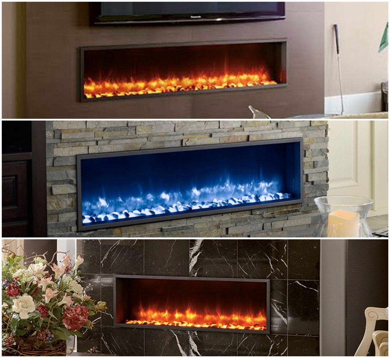 built in color changing electric led light fireplace remote control