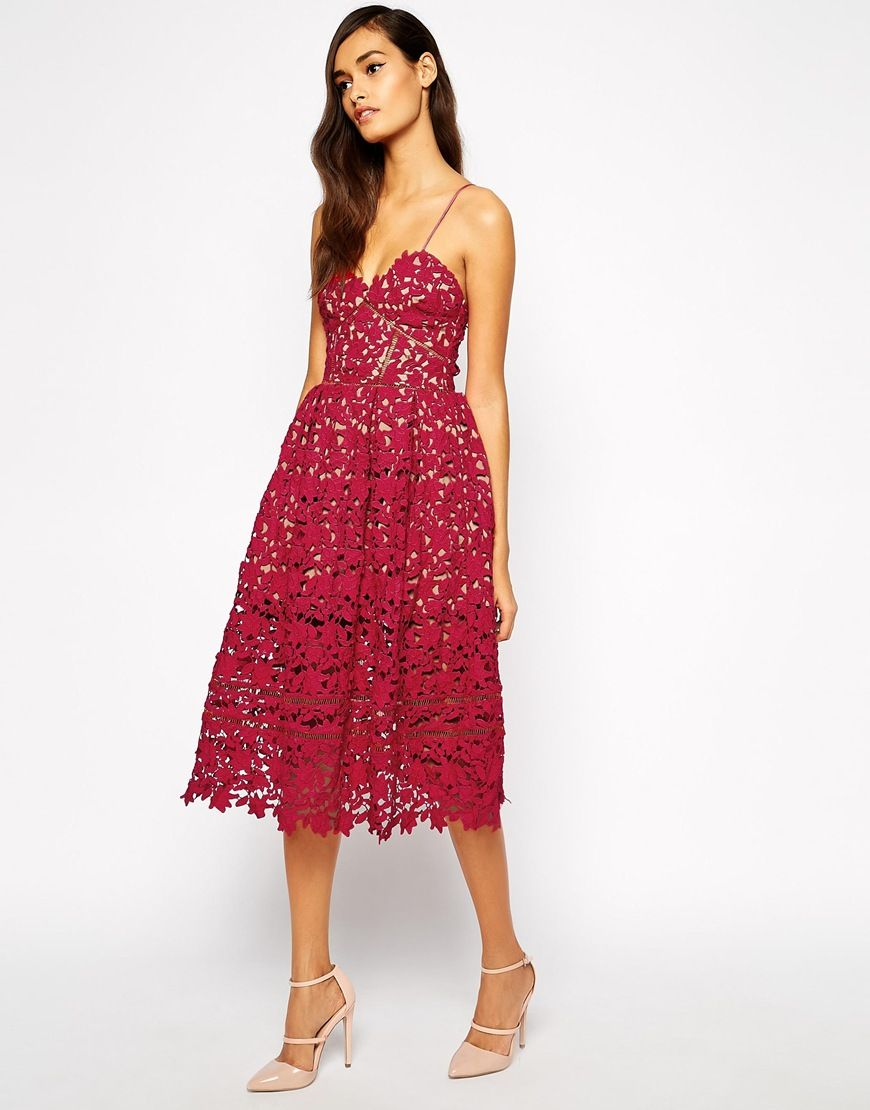 Azalea floral lace midi dress