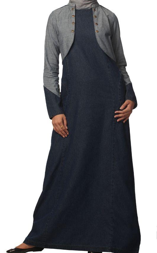 fac5f97a907 Stylish denim jilbab with mini jacket Modest Long Dresses