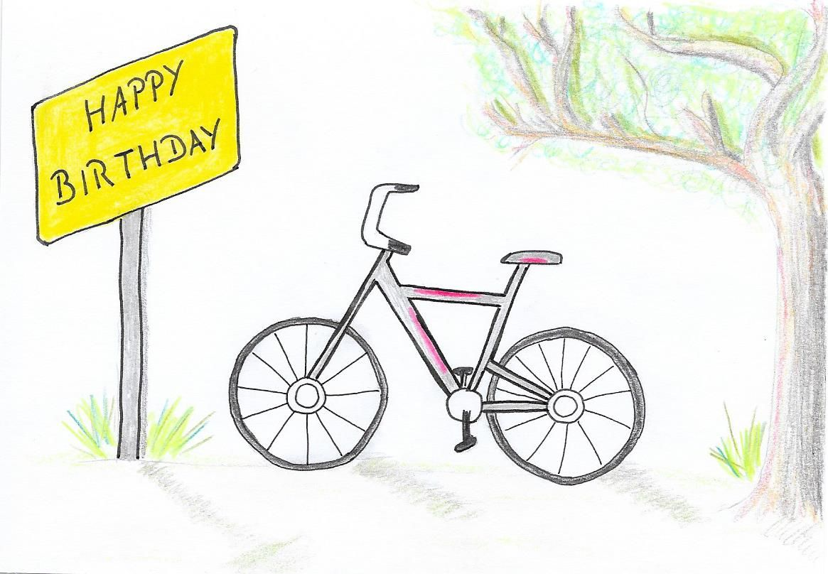 Postkarte Geburtstag Happy Birthday Fahrrad Gezeichnet Als