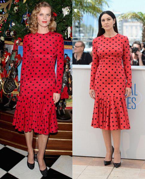 dolce-gabbana-red-polka-dot-dress-eva-herzigova- | Dolce & Gabbana ...