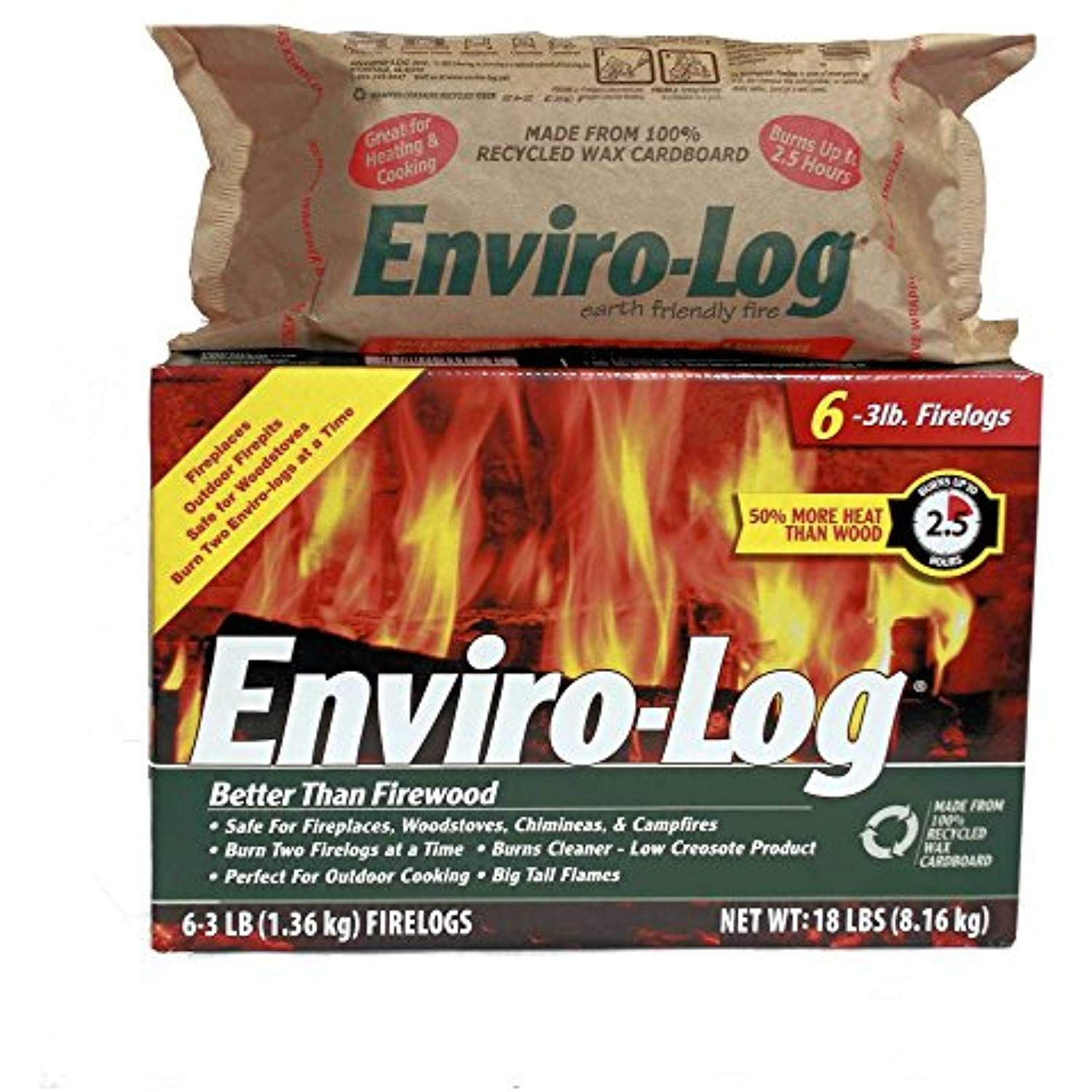 Enviro Log Earth Friendly Fire Log Burns Cleaner Than Wood 1 Box 3 Lb Pack Of 6 You Can Get More Details By C Linear Fireplace Earth Friendly Wood Heat