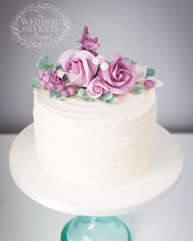 Tall Rustic buttercream wedding birthday cake 1 tier with