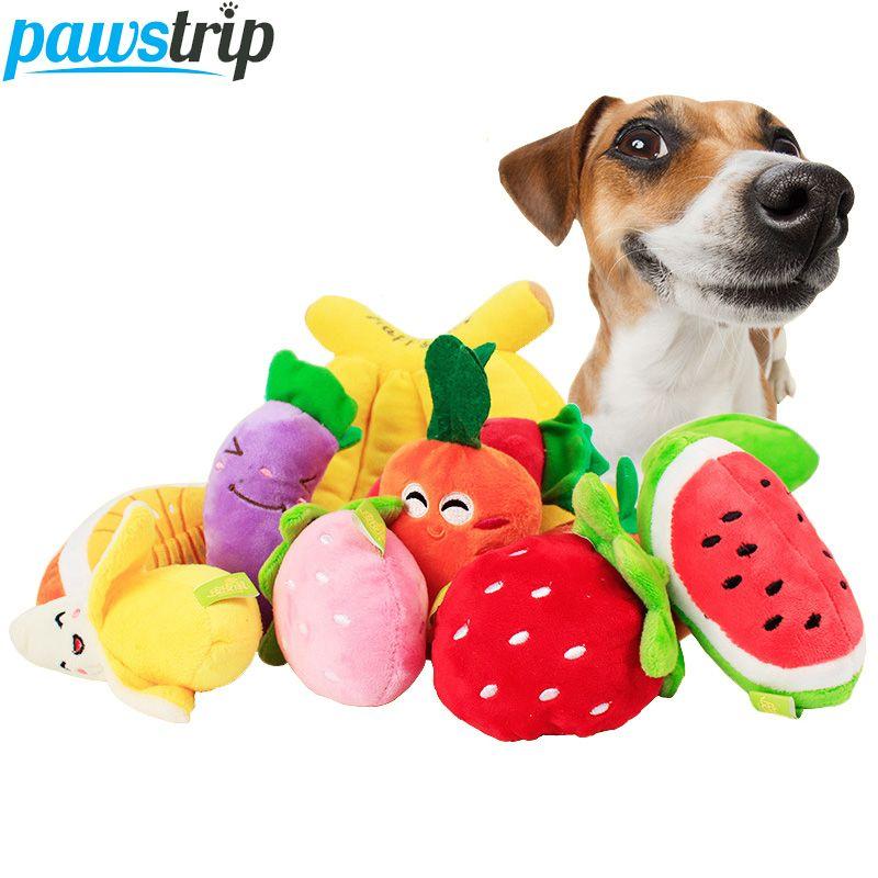 1pc Cute Fruit Design Pet Dog Toys Soft Fleece Puppy Dog Chew