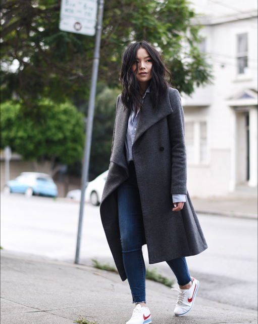 low priced 830f3 37f47 fall outfit idea  asos wrap coat, nike cortez sneakers