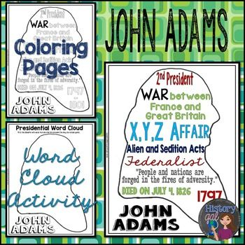 John Adams Coloring Page And Word Cloud Activity Cloud
