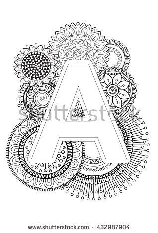 Doodle Floral Letters Coloring Book For Adult Mandala And