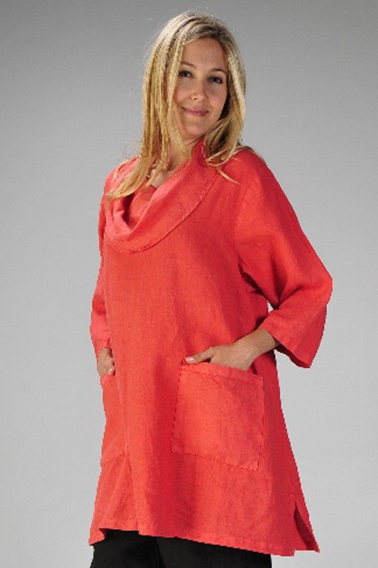 b23719a8cd Match Point women s clothing. Cowl neck 3 4 sleeve long tunic with two  pockets. View online at www.flaxgirl.com tops match-point 3-4-sleeve-cowl- neck-tunic