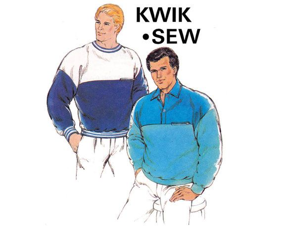 80s Mens Sweatshirts Pattern Kwik Sew 1674 by allthepreciousthings