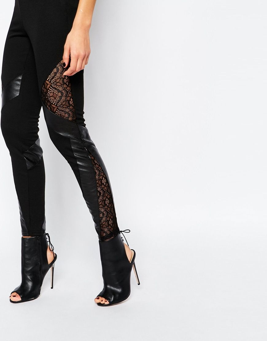Leggings with lace inserts for dress