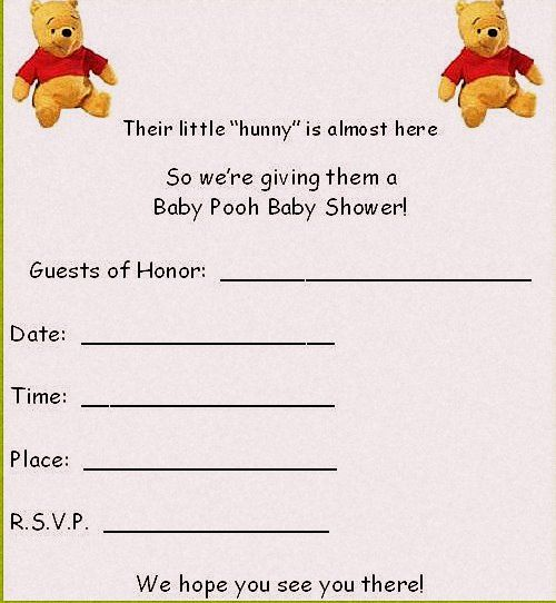 Winnie The Pooh Templates For Baby Shower: Baby Shower Invitation Template Pooh Baby Shower