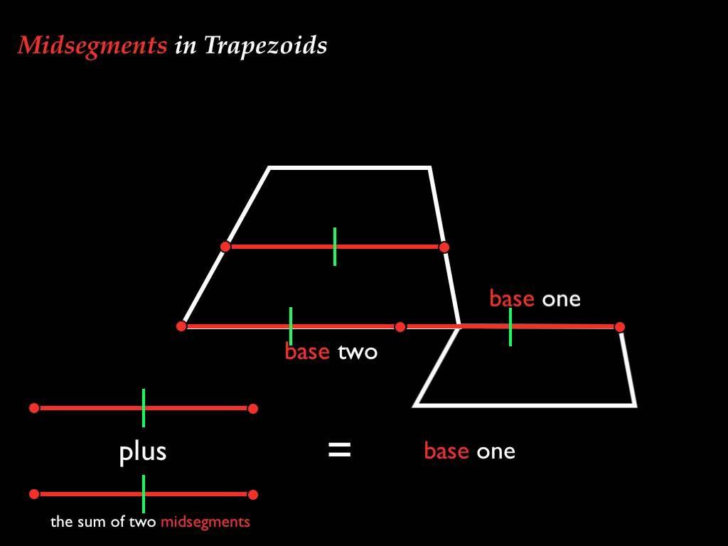 Midsegments In Trapezoids Quadrilaterals Trapezoid Pythagorean Theorem