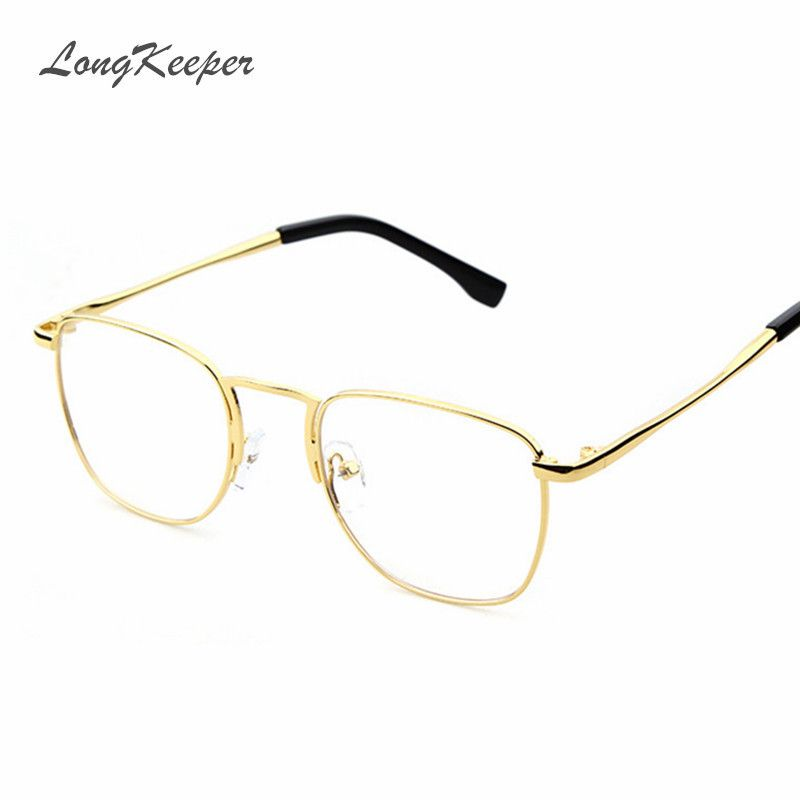 longkeeper fashion gold metal frame eyeglasses for women female vintage glasses clear lens optical frames oculos