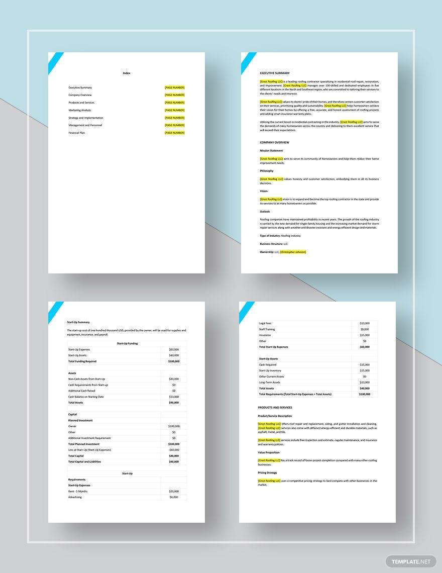 Roofing Company Marketing Plan Template Free Pdf Word Google Docs Digital Marketing Plan Template Marketing Plan Template Business Plan Template Marketing plan template microsoft word