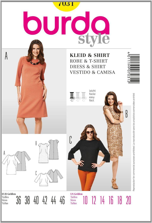 Burda B7031 Patron de Couture Robe et T-Shirt 19 x 13 cm: Amazon.fr ...