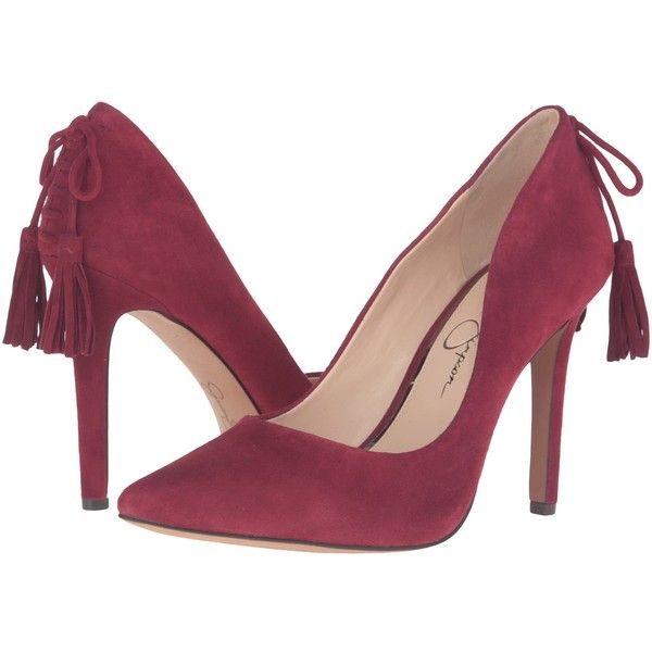 Jessica Simpson Centella (Port Red Luxe Kid Suede) Women's Shoes ($98) ❤ liked on Polyvore featuring shoes, pumps, red high heel pumps, red suede shoes, pointed toe pumps, suede pumps and red pumps