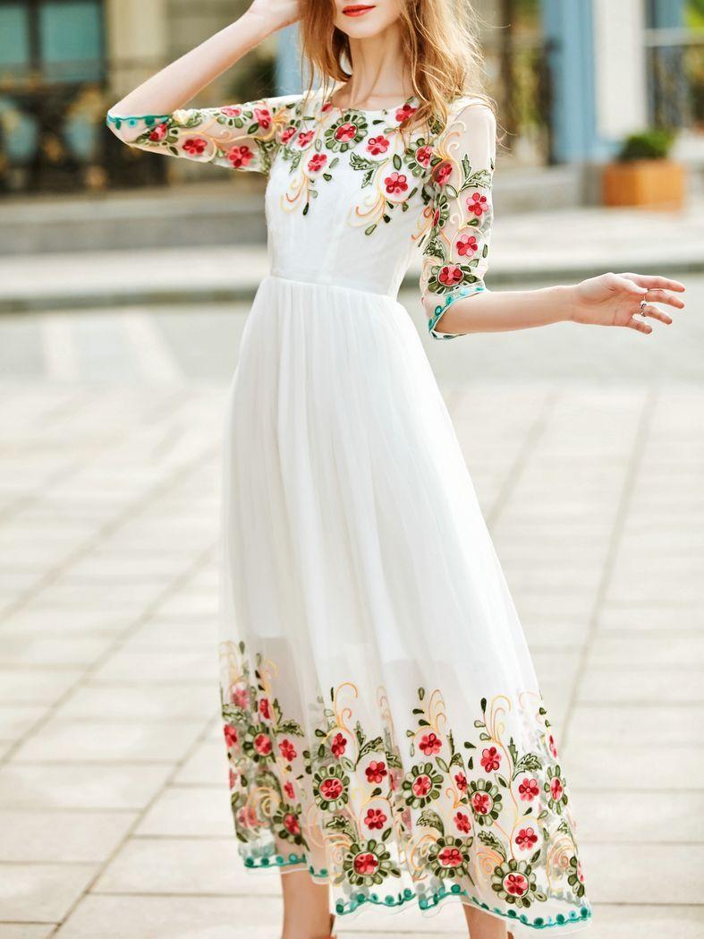 Shop White Gauze Flowers Embroidered Dress online. SheIn offers