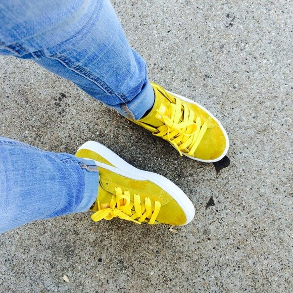 blue and yellow puma shoes