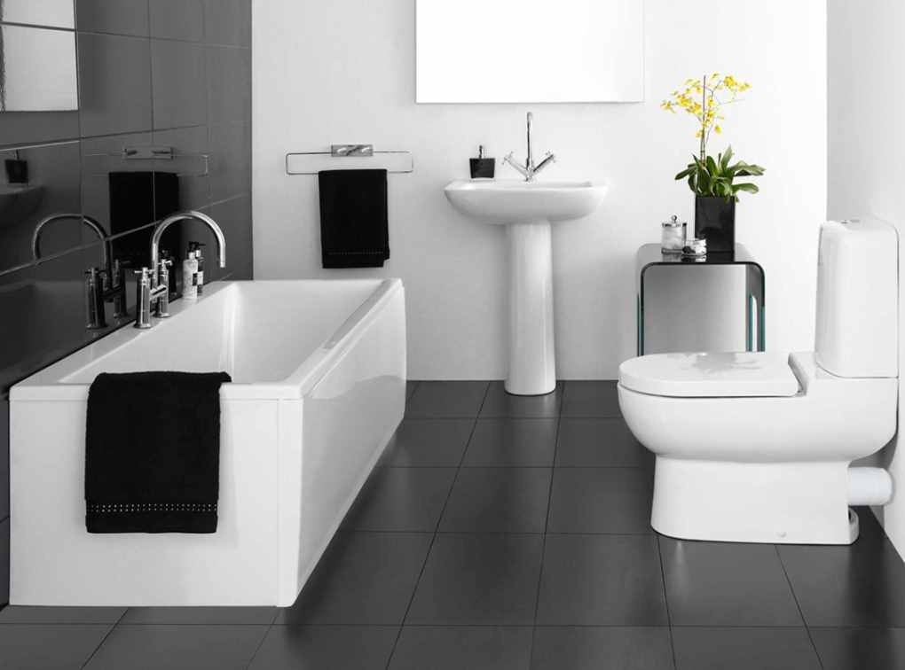 Superior Black White Bathroom Simple Design Ideas