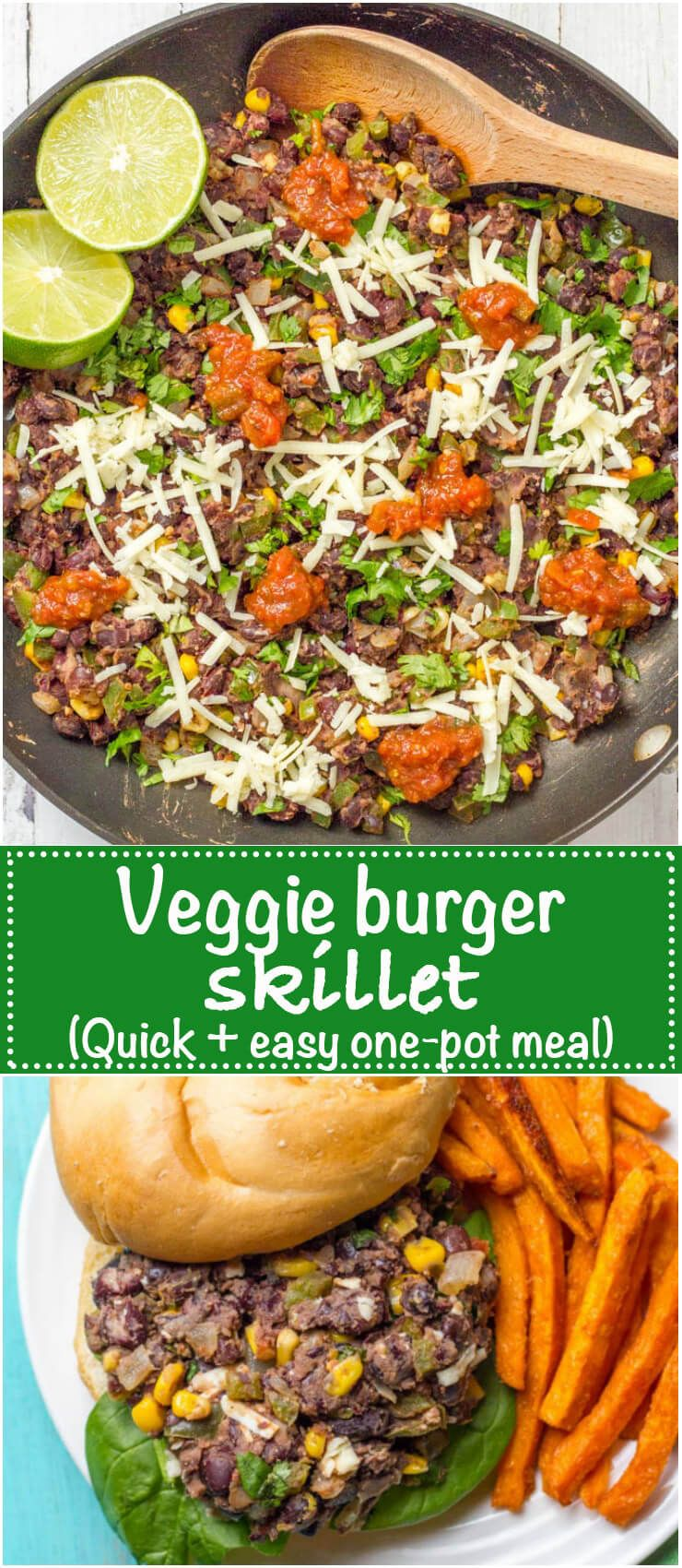 Veggie burger skillet is a quick and easy one-pan dinner that's vegan, gluten free and ready in about 20 minutes! Serve as is, in a tortilla or pita, as lettuce wraps or on a bun.   www.familyfoodonthetable.com
