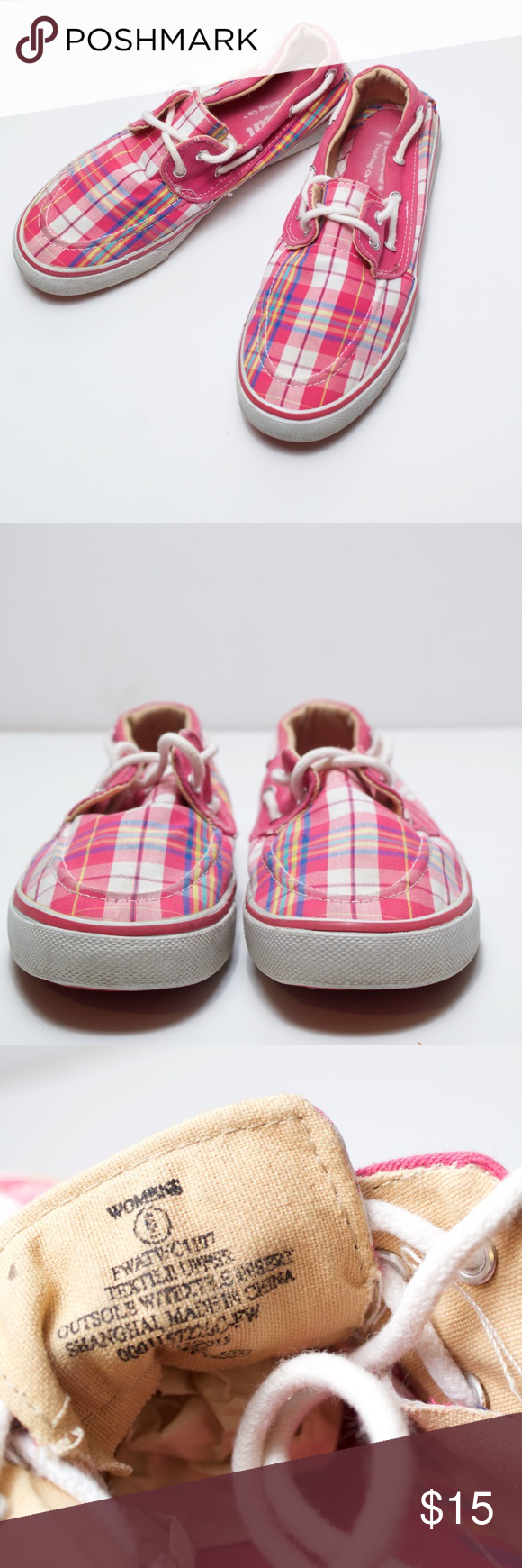 3e46ad14bd01 Austin Trading Company - Pink Plaid Boat Shoes Austin Trading Company -  Pink Plaid Boat Shoes