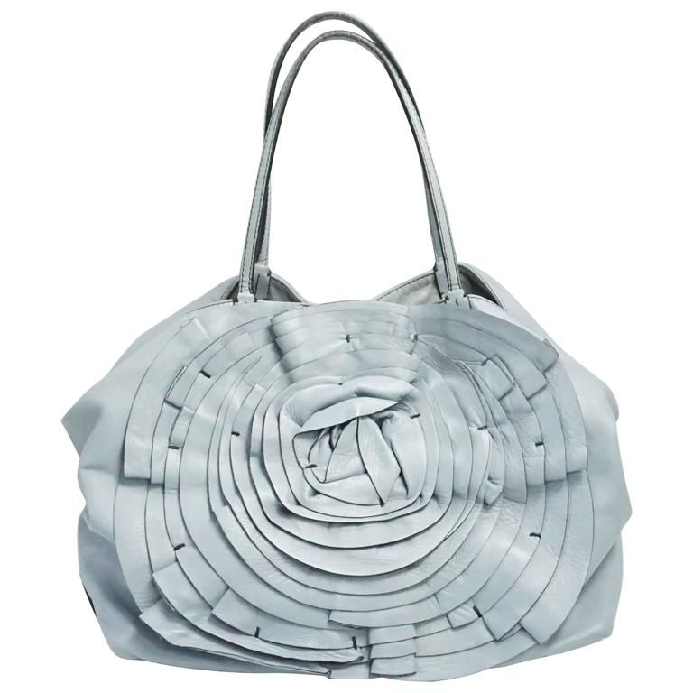 33c392f04e7 Valentino Pale Blue Large Leather Petale Rose Tote in 2019 ...